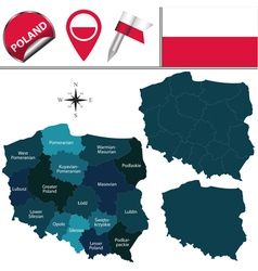 Poland map with named divisions vector