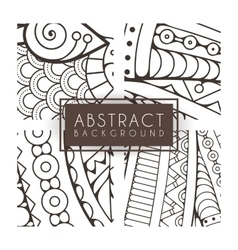 Set of four monochrome intricate patterns vector image