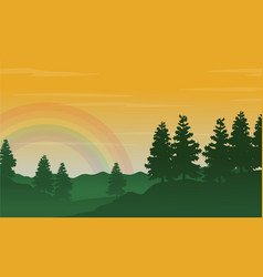 Silhouette of hill with spruce landscape vector