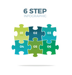 Six step puzzle infographic vector