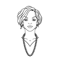 Stylish beautiful lady with jewelry vector