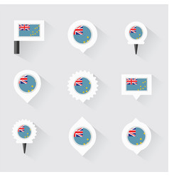 Tuvalu flag and pins for infographic and map vector