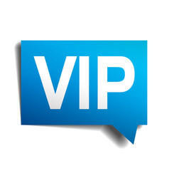 Vip blue 3d realistic paper speech bubble vector