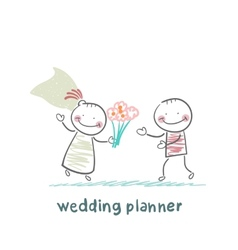 Wedding planner with the bride vector