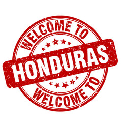 Welcome to honduras red round vintage stamp vector