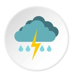 Rain with thunderstorm icon flat style vector