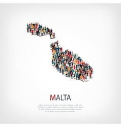 people map country Malta vector image