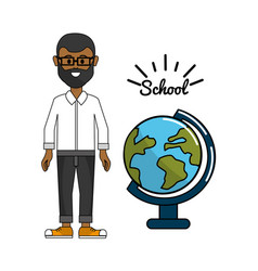 Teacher with earth planet desk decoration vector