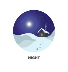night round web button with winter scenery vector image