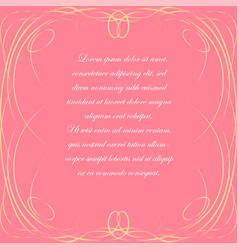 pink background with elegant frame vector image