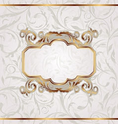 Golden retro frame seamless floral texture vector