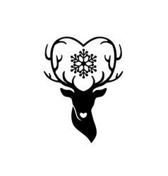 head of deer with antlers love vector image