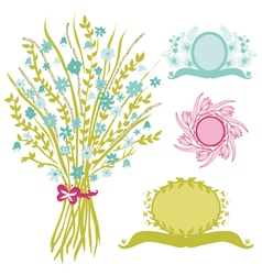 Bouquet and banners vector