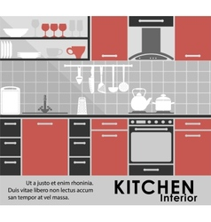 Modern kitchen interior in flat style vector