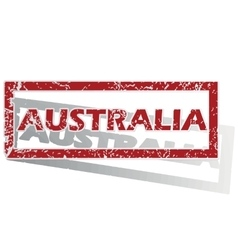 Australia outlined stamp vector