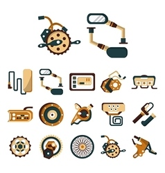 Electric bike details flat color icons vector