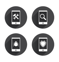 Smartphone icons shield protection repair bug vector