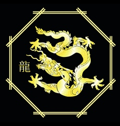 Gold dragon on black vector