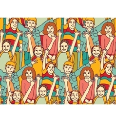 Happy crowd children color seamless pattern vector
