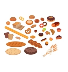 Bakery products set flat design vector
