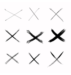 Set abstract sketch black crosses vector