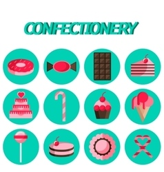 Confectionery flat icon set vector