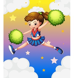 A girl with green pompoms vector