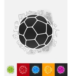 ball paper sticker with hand drawn elements vector image