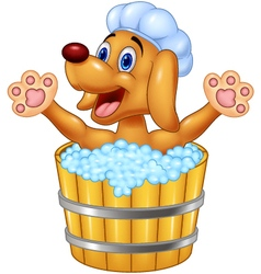 Cartoon dog bathing waving hand vector