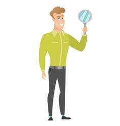 Caucasian business man holding hand mirror vector