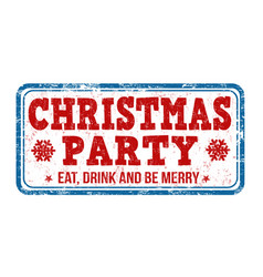 christmas party stamp vector image vector image