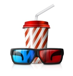 Cinema - 3d glasses and red striped vector image vector image