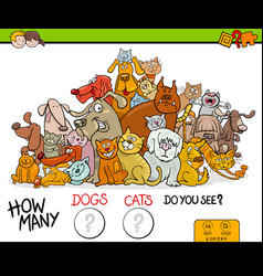 Counting cats and dogs activity game vector