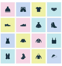 Dress icons set collection of waistcoat trunks vector