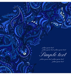 Elegant card with indian paisley pattern blue vector