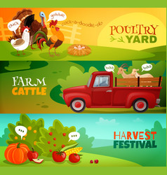 farm horizontal banners set vector image
