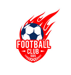 football soccer club badge fire ball icon vector image vector image