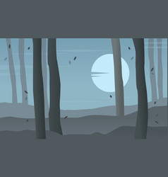 forest at night scenery silhouettes vector image vector image