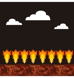 Game scene pixelated background vector