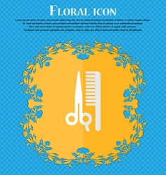 Hair floral flat design on a blue abstract vector