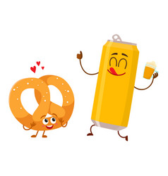 happy aluminium beer can and pretzel characters vector image