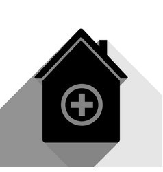 Hospital sign black icon vector
