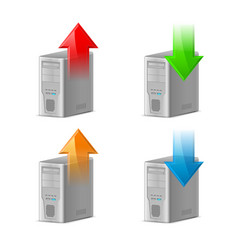 Icon set of computer with upload and download vector