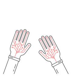 Linear virtual gloves on hands vector