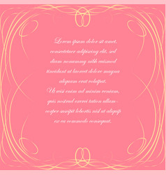 Pink background with elegant frame vector