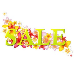 Sale Poster With Flowers vector image