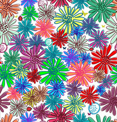 Seamless funny floral background vector image vector image