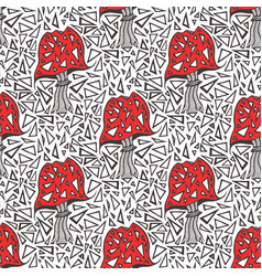 seamless pattern with zentangle amanita mushrooms vector image