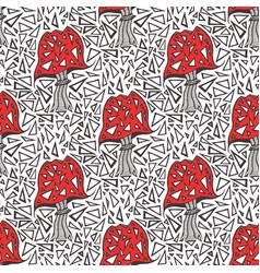 Seamless pattern with zentangle amanita mushrooms vector