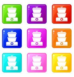 Steamer icons 9 set vector